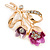 Fuchsia/ Pink Crystal Tulip Brooch In Gold Tone - 55mm L - view 2