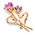 Fuchsia/ Pink Crystal Tulip Brooch In Gold Tone - 55mm L - view 3