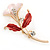 Pink/ Coral Enamel, Crystal Calla Lily Brooch In Gold Plating - 53mm L - view 2