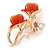 Pink Enamel, Crystal With Coral Glass Stones Floral Brooch In Gold Plating - 45mm L - view 2
