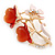 Pink Enamel, Crystal With Coral Glass Stones Floral Brooch In Gold Plating - 45mm L - view 3