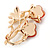 Pink Enamel, Crystal With Coral Glass Stones Floral Brooch In Gold Plating - 45mm L - view 5