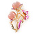 Fuchsia Enamel, Crystal With Pink Glass Stones Floral Brooch In Gold Plating - 45mm L