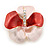 Coral/ Pink Enamel, Crystal Flower Brooch In Gold Plating - 30mm Across