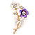 Purple/ Cream Enamel, Crystal Flowers and Butterfly Brooch In Gold Tone - 50mm L