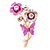 Pink/ Fuchsia Enamel, Crystal Flowers and Butterfly Brooch In Gold Tone - 50mm L