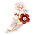 Coral/ Pink Enamel, Crystal Flowers and Butterfly Brooch In Gold Tone - 50mm L