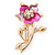Pink/ Fuchsia Enamel, Crystal Daisy Brooch In Gold Plating - 50mm L