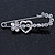 Clear Crystal Heart and Flower Safety Pin Brooch In Silver Tone - 50mm L - view 5