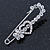 Clear Crystal Heart and Flower Safety Pin Brooch In Silver Tone - 50mm L - view 2