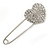 Clear Austrian Crystal Heart Safety Pin Brooch In Rhodium Plating - 55mm L