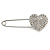 Clear Austrian Crystal Heart Safety Pin Brooch In Rhodium Plating - 55mm L - view 7