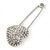 Clear Austrian Crystal Heart Safety Pin Brooch In Rhodium Plating - 55mm L - view 6