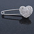 Clear Austrian Crystal Heart Safety Pin Brooch In Rhodium Plating - 55mm L - view 5