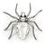 Clear Crystal Spider Brooch In Gun Metal Finish - 55mm