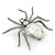 Clear Crystal Spider Brooch In Gun Metal Finish - 55mm - view 5