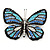 Black/ Sky Blue/ Violet Blue/ Milky White Austrian Crystal Butterfly Brooch In Silver Tone - 50mm W - view 1