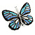 Black/ Sky Blue/ Violet Blue/ Milky White Austrian Crystal Butterfly Brooch In Silver Tone - 50mm W - view 6