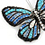 Black/ Sky Blue/ Violet Blue/ Milky White Austrian Crystal Butterfly Brooch In Silver Tone - 50mm W - view 2