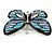 Black/ Sky Blue/ Violet Blue/ Milky White Austrian Crystal Butterfly Brooch In Silver Tone - 50mm W - view 3