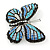 Black/ Sky Blue/ Violet Blue/ Milky White Austrian Crystal Butterfly Brooch In Silver Tone - 50mm W - view 5