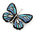 Black/ Sky Blue/ Violet Blue/ Milky White Austrian Crystal Butterfly Brooch In Silver Tone - 50mm W - view 7
