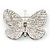 Black/ Sky Blue/ Violet Blue/ Milky White Austrian Crystal Butterfly Brooch In Silver Tone - 50mm W - view 4