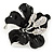 Black Enamel, Clear Crystal Flower Brooch In Silver Tone Metal - 45mm D
