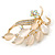Neutral Cat Eye Stone, Crystal Floral Brooch In Gold Tone Metal - 55mm L - view 5