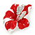 Red Enamel, Clear Crystal Poppy Brooch In Silver Tone Metal - 45mm D - view 4