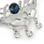 Clear Crystal, Blue CZ 'Love' Brooch In Rhodium Plated Metal - 50mm Across - view 3