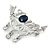 Clear Crystal, Blue CZ 'Love' Brooch In Rhodium Plated Metal - 50mm Across - view 2