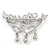 Clear Crystal, Blue CZ 'Love' Brooch In Rhodium Plated Metal - 50mm Across - view 4