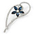 Open Asymmetrical Heart with Blue CZ Flower Brooch In Rhodium Plating - 65mm Across - view 3