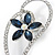 Open Asymmetrical Heart with Blue CZ Flower Brooch In Rhodium Plating - 65mm Across - view 2