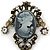 Vintage Inspired Classic Cameo with Charms Brooch In Bronze Tone - 60mm Across - view 3