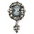 Vintage Inspired Hematite Crystal Cameo with Charm Brooch In Antique Silver Tone - 65mm L