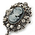 Vintage Inspired Hematite Crystal Cameo with Charm Brooch In Antique Silver Tone - 65mm L - view 3