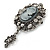 Vintage Inspired Hematite Crystal Cameo with Charm Brooch In Antique Silver Tone - 65mm L - view 4