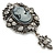 Vintage Inspired Hematite Crystal Cameo with Charm Brooch In Antique Silver Tone - 65mm L - view 5