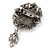 Vintage Inspired Hematite Crystal Cameo with Charm Brooch In Antique Silver Tone - 65mm L - view 2