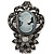 Vintage Inspired Dark Grey/ Hematite Crystal Cameo with Charm Brooch In Antique Silver Tone - 65mm L - view 2
