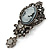 Vintage Inspired Dark Grey/ Hematite Crystal Cameo with Charm Brooch In Antique Silver Tone - 65mm L - view 4