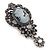 Vintage Inspired Dark Grey/ Hematite Crystal Cameo with Charm Brooch In Antique Silver Tone - 65mm L - view 5