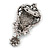 Vintage Inspired Dark Grey/ Hematite Crystal Cameo with Charm Brooch In Antique Silver Tone - 65mm L - view 3