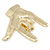 Polished Gold Plated Metal 'Rock & Roll' Brooch - 65mm L - view 3