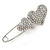Rhodium Plated, Clear Crystal Double Heart Safety Pin Brooch - 70mm L