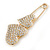 Gold Plated, Clear Crystal Double Heart Safety Pin Brooch - 70mm L - view 2