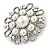 Vintage Inspired Bridal/ Wedding/ Prom Glass Pearl, Clear Crystal Flower Brooch In Silver Tone - 50mm D - view 2