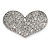 Silver Plated Pave Set Clear Crystal Heart Brooch - 47mm - view 1